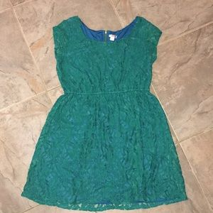 Turquoise Lace Overlay Dress/Tunic